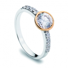 Damenring - silver trends ST1145 - 925/- Silber vergoldet Bicolor, Zirkonia