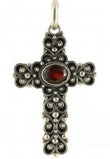 Anhänger - 925/- Silber, Granat, Kreuz