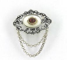 Broschen - 835/- Silber, Granat
