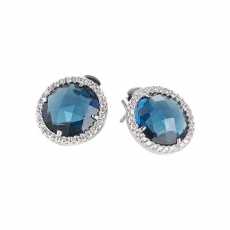 Ohrstecker - BOCCADAMO XOR259 - 925/- Silber rhodiniert, Blau
