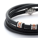 Armband - BOCCADAMO ABR119 - Leder, Zirkonia