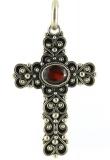 Anhänger - 925 Sterling Silber, Granat, Kreuz
