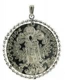 Anhänger - 925/- Silber, ohne Stein, Medaillon