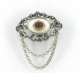 Broschen - 835 Silber, Granat