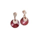 Ohrstecker - BOCCADAMO OR681RRS - 925/- Silber rhodiniert, Swarovski Rot